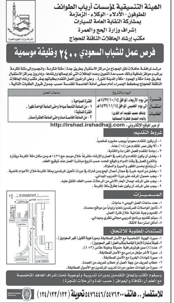 وظائف موسمية في الهيئة التنسيقية لمؤسسات أرباب الطوائف - المنطقة الغربية