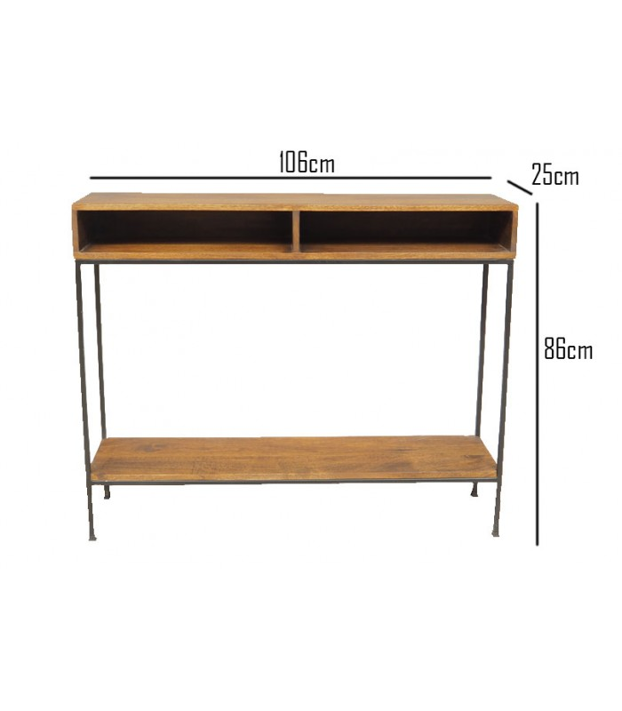 console table wood and metal length 106cm
