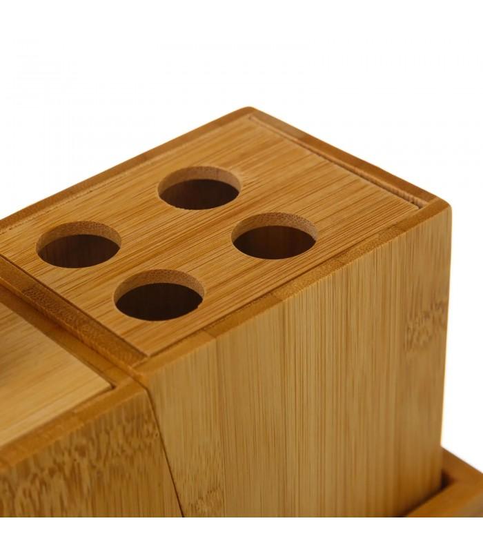 Set Bambou Salle De Bain Distributeur Savon Porte Brosse A Dents Gobelet Rangement Wadiga Com