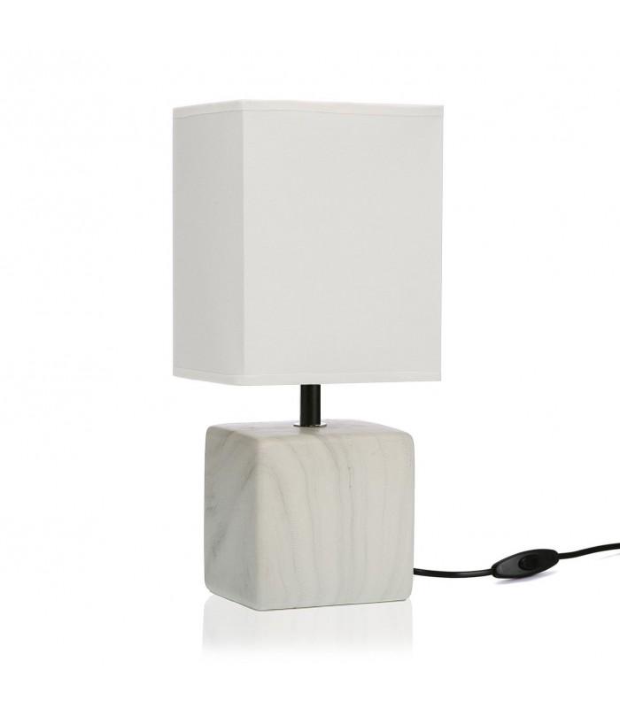 lampe a poser rectangle bois abat jour blanc