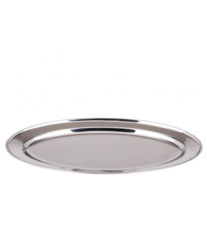 plat de service ovale en inox longueur 30cm