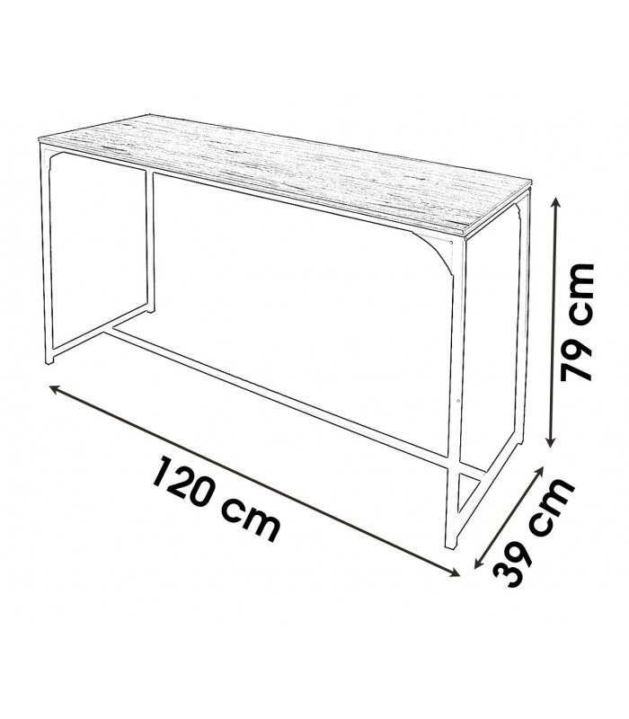 console d entree en bois et metal noir longueur 120cm
