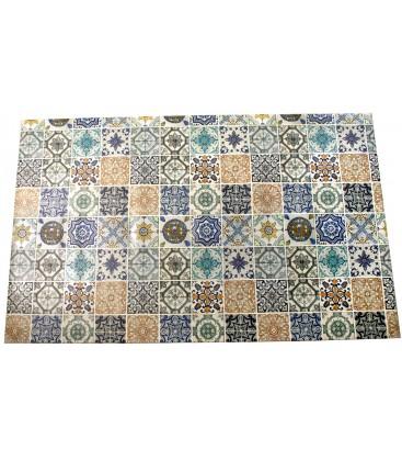grand tapis de cuisine multicolore motif carreaux de ciment en vinyle 120x195cm