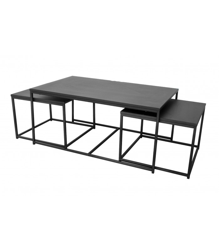 set de 3 tables basses gigognes metal noir