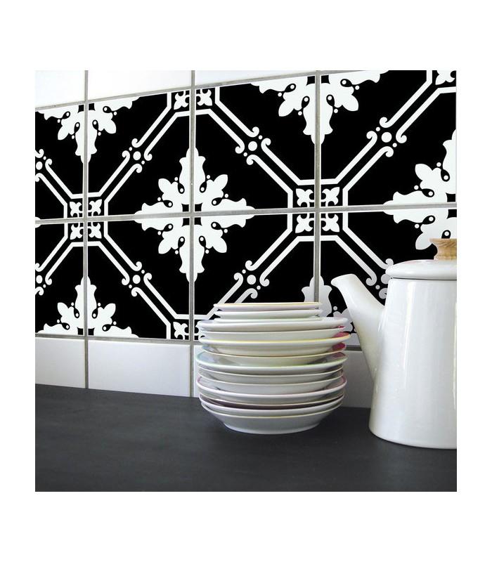 Stickers pour Carrelage de Cuisine ou salle e bain en noir et blanc  Wadigacom