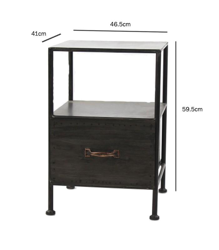 table de chevet en metal noir avec