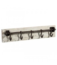 Wall Coat Rack White Wood and Black Metal