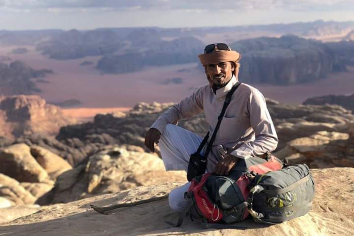 Ali Al Zalabieh, at the top of Jebel Rum, Wadi Rum.