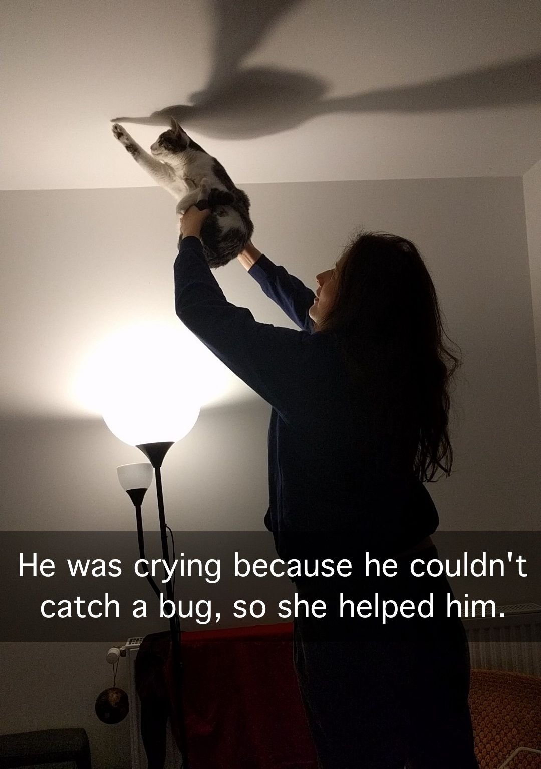 He was crying because he couldn't catch a bug, so she helped him.