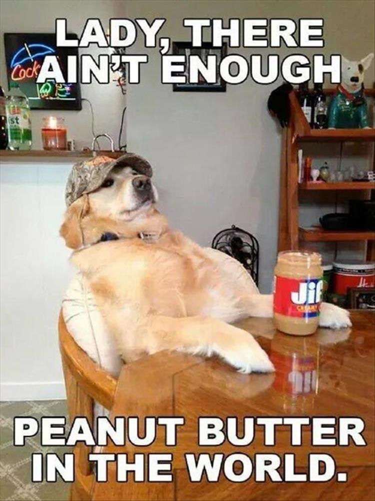 Lady, there ain't enough. Peanut butter in the world.