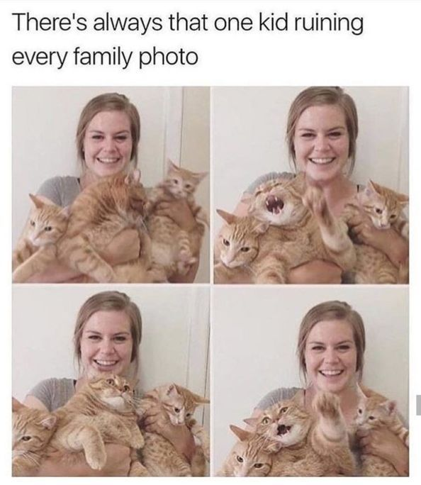 There's always that one kid ruining every family photo
