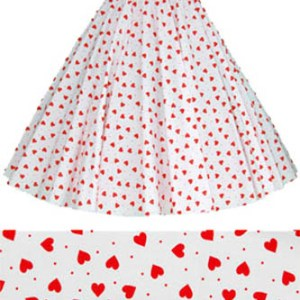 Childs Wht / Red Hearts Print  Skirt
