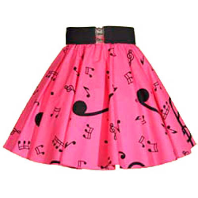 Childs Pink / Blk Music Notes Print Skirt