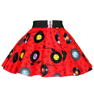 Childs Red Records Print Circle Skirt