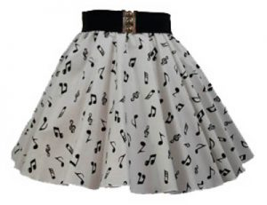Childs Wht / Small Blk Music Notes Print Skirt