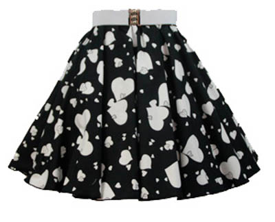 Childs Random Wht Hearts Print  Skirt