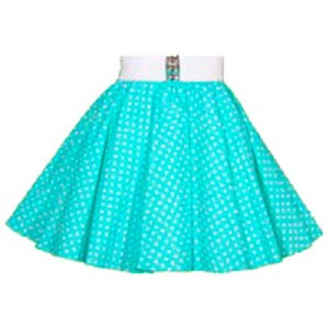 Childs  Mint / White 7mm PD Circle Skirt