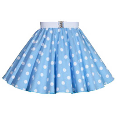 Childs Light Sky Blue / White PD Circle Skirt
