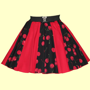 Black Cherries & Plain Red Panel Skirt
