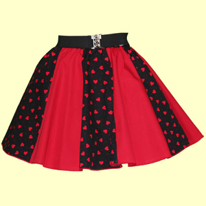 Black / Red Hearts & Plain Red Panel Skirt