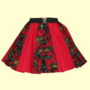 Tulips Print & Plain Red Panel Skirt