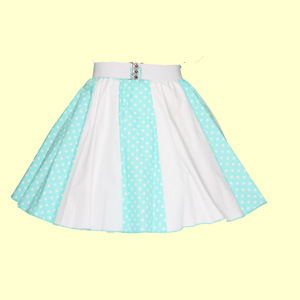 Mint/White 7mm PD & Plain White Panel Skirt