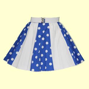 Royal Blue/White PD & Plain White Panel Skirt