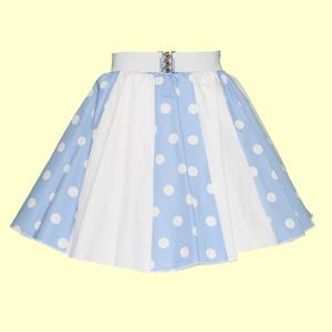 Pale Blue/White PD & Plain White Panel Skirt