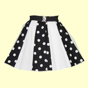Black/White PD & Plain White Panel Skirt