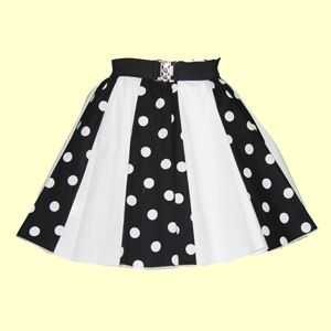 Black/White PD & Plain White Panel Skirt
