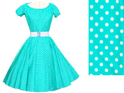 1950's Rcok n Roll Dress in Turquoise wuth White polkadot