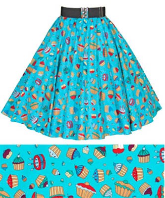 Childs Blue Cupcakes Print Circle Skirt