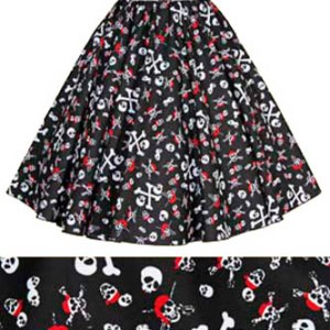 Skull / Crossbones Print  Circle Skirt