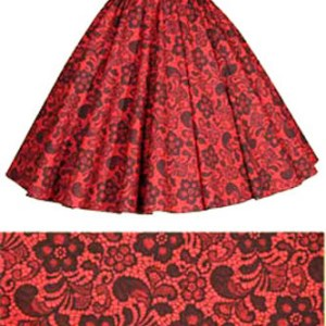 Sale 17″ Red/Black Lace Circle Skirt (XS) Free nchief