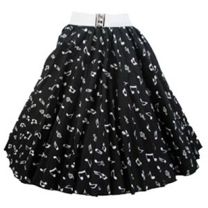 Blk / Small White Music Notes Print Circle  Skirt