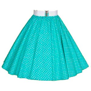 Turq Green / White 7mm Polkadot Circle Skirt