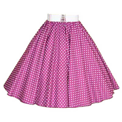 Purple / White 7mm Polkadot Circle Skirt