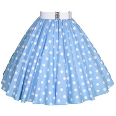 Light Sky Blue / White Polkadot Circle Skirt
