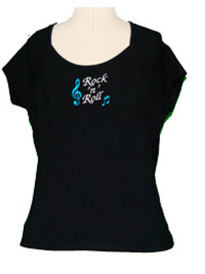 Ladies Rock n Roll Embroidered T-Shirt