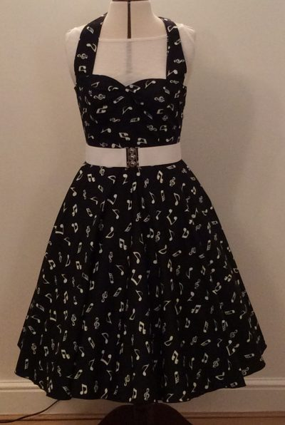Black with Small White Music Notes Print Halterneck Dress