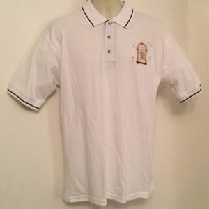 Sale -Ready Emb Mens White/ Navy Polo Shirt (Medium)