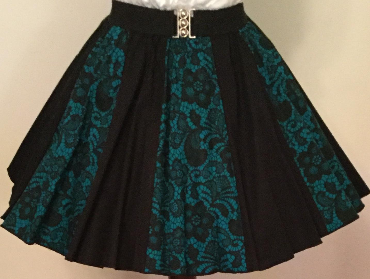 Jade Lace & Plain Black Panel Skirt