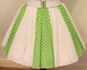 Lime Green /White 7mm PD & Plain White Panel Skirt