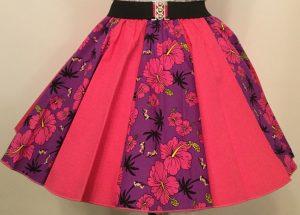 Purple Tropical & Plain Cerise Pink Panel Skirt