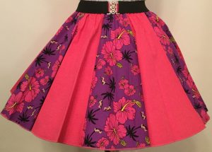 Purple Tropical & Plain Cerise Pink Panel Skirt