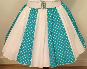 Turq Green/ Wht 7mm PD & Plain Wht Panel Skirt