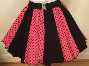 Pink / Black 7mm PD & Plain Black Panel Skirt