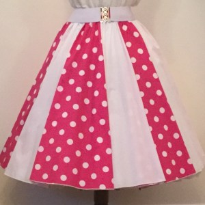 Cerice with White PD and plain White Panel Skirt