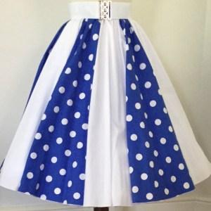 Royal Blue with White PD / Plain White Panel Skirt