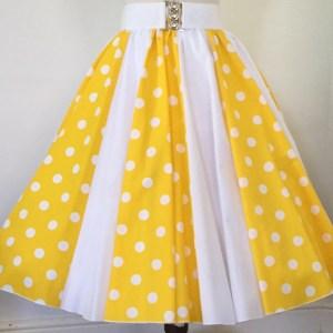 Yellow with White PD / Plain white Panel Skirt